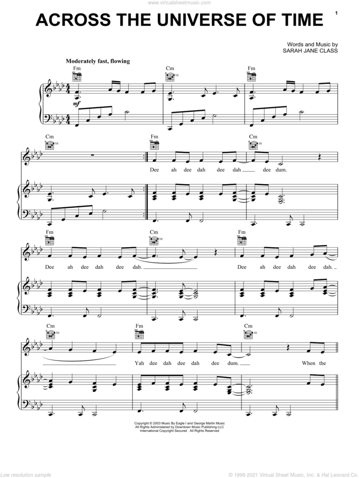 Across The Universe Of Time sheet music for voice, piano or guitar by Hayley Westenra and Sarah Jane Class, intermediate skill level