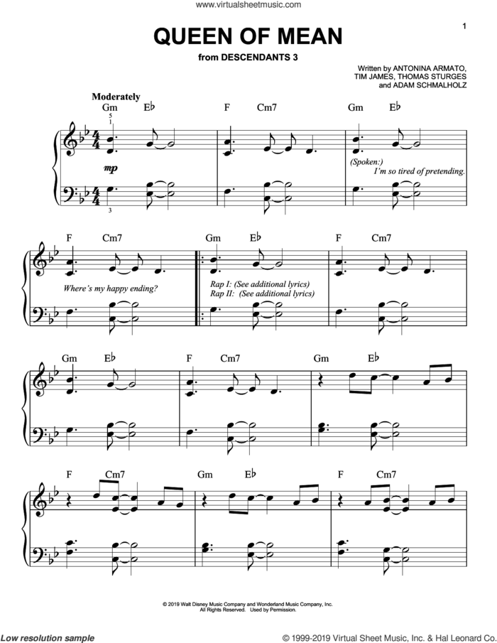 Queen Of Mean (from Disney's Descendants 3) sheet music for piano solo by Sarah Jeffery, Adam Schmalholz, Antonina Armato, Thomas Sturges and Tim James, easy skill level