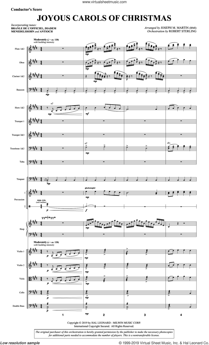 Joyous Carols of Christmas (Full Orchestra) (COMPLETE) sheet music for orchestra/band by Joseph M. Martin, intermediate skill level