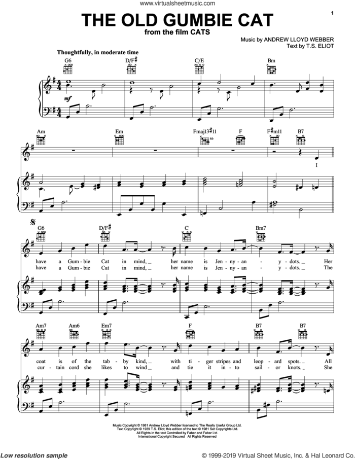The Old Gumbie Cat (from the Motion Picture Cats) sheet music for voice, piano or guitar by Rebel Wilson and Robbie Fairchild, Andrew Lloyd Webber and T.S. Eliot, intermediate skill level