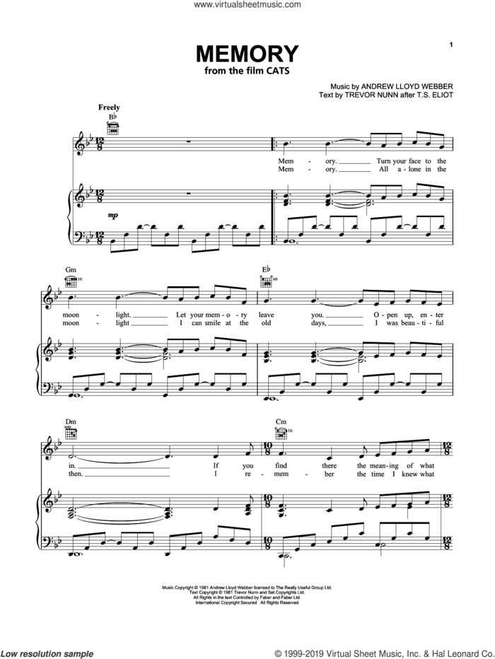 Memory (from the Motion Picture Cats) sheet music for voice, piano or guitar by Jennifer Hudson, Andrew Lloyd Webber and Trevor Nunn, intermediate skill level