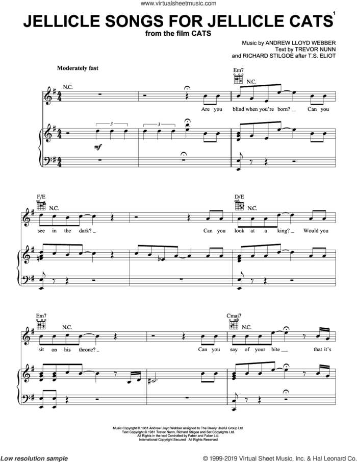 Jellicle Songs For Jellicle Cats (from the Motion Picture Cats) sheet music for voice, piano or guitar by Cats Cast, Andrew Lloyd Webber, Richard Stilgoe after T.S. Eli and Trevor Nunn, intermediate skill level