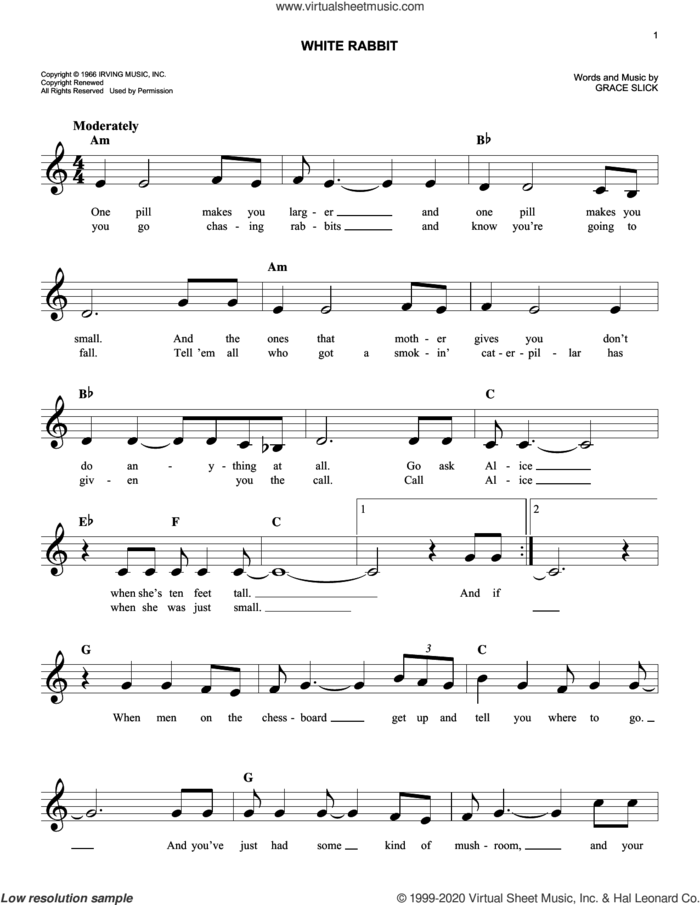 White Rabbit sheet music for voice and other instruments (fake book) by Jefferson Airplane and Grace Slick, intermediate skill level