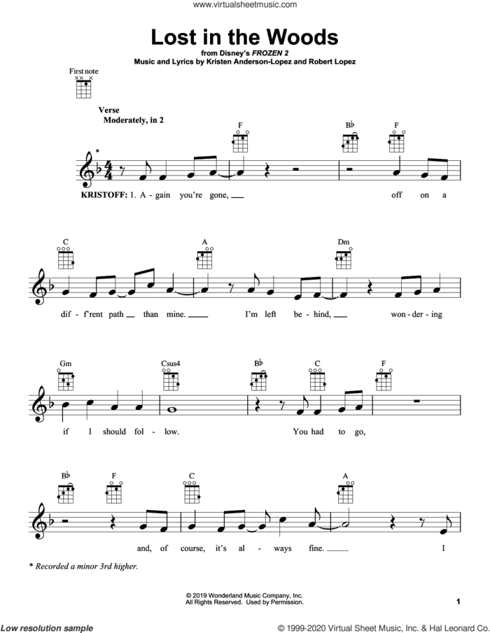 Lost In The Woods (from Disney's Frozen 2) sheet music for ukulele by Jonathan Groff, Kristen Anderson-Lopez and Robert Lopez, intermediate skill level