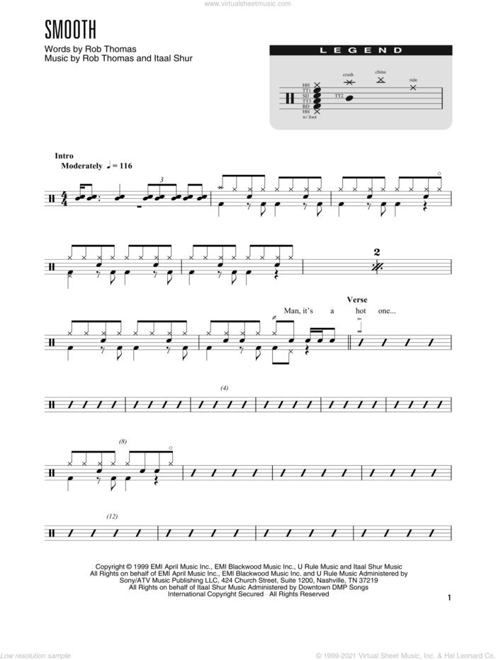 Smooth (feat. Rob Thomas) (arr. Kennan Wylie) sheet music for drums (percussions) by Rob Thomas, Kennan Wylie, Carlos Santana and Itaal Shur, intermediate skill level