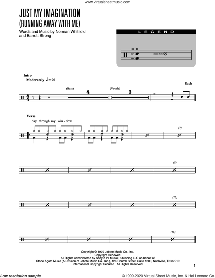 Just My Imagination (Running Away With Me) (arr. Kennan Wylie) sheet music for drums (percussions) by The Temptations, Kennan Wylie, The Rolling Stones, Barrett Strong and Norman Whitfield, intermediate skill level