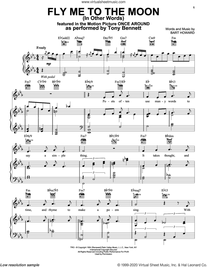 Fly Me To The Moon (In Other Words) sheet music for voice, piano or guitar by Tony Bennett and Bart Howard, intermediate skill level