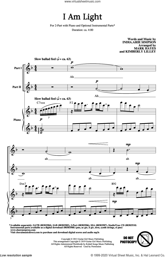 I Am Light (arr. Mark Hayes and Kimberly Lilley) sheet music for choir (2-Part) by India Arie, Kimberly Lilley, Mark Hayes and India.Arie Simpson, intermediate duet
