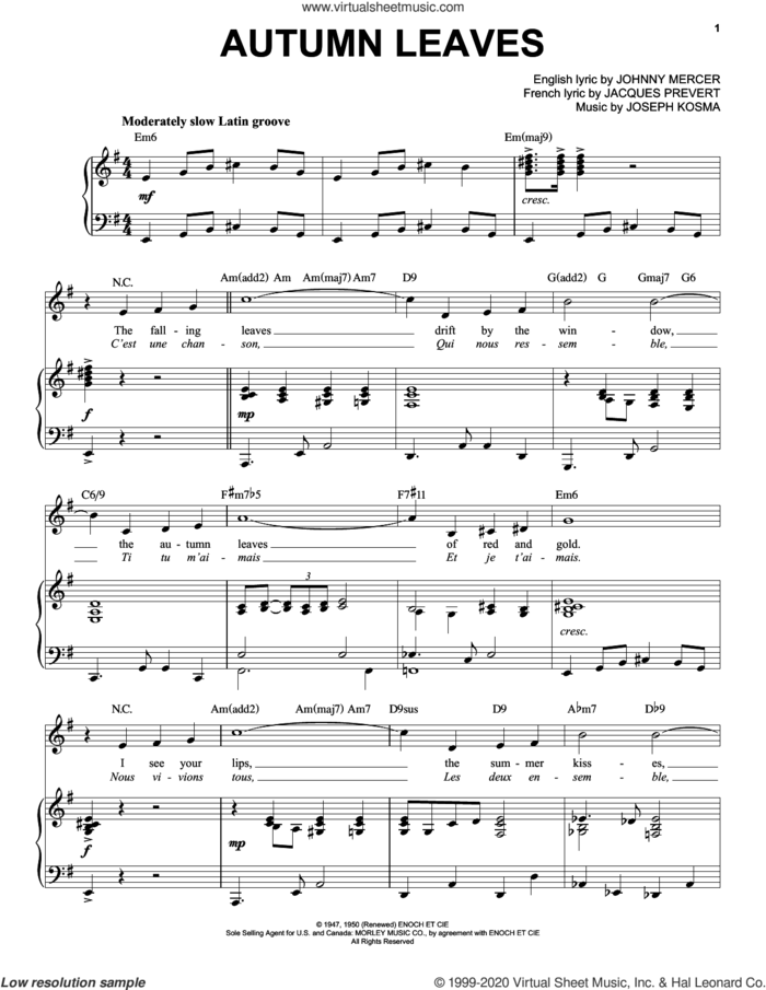 Autumn Leaves [Jazz version] (arr. Brent Edstrom) sheet music for voice and piano (High Voice) by Johnny Mercer, Jacques Prevert and Joseph Kosma, intermediate skill level