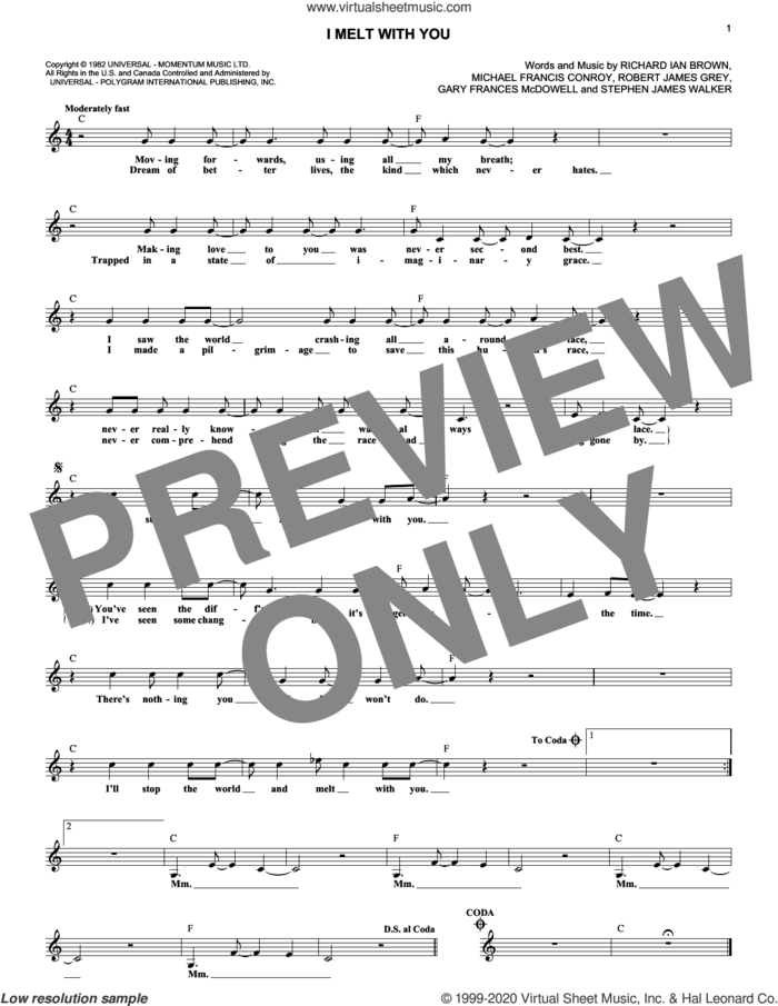 I Melt With You sheet music for voice and other instruments (fake book) by Modern English, Gary Frances McDowell, Michael Francis Conroy, Richard Ian Brown, Robert James Grey and Stephen James Walker, intermediate skill level