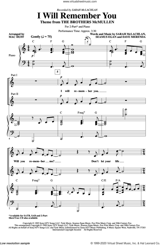 I Will Remember You (arr. Mac Huff) sheet music for choir (2-Part) by Sarah McLachlan, Mac Huff, Dave Merenda and Seamus Egan, intermediate duet