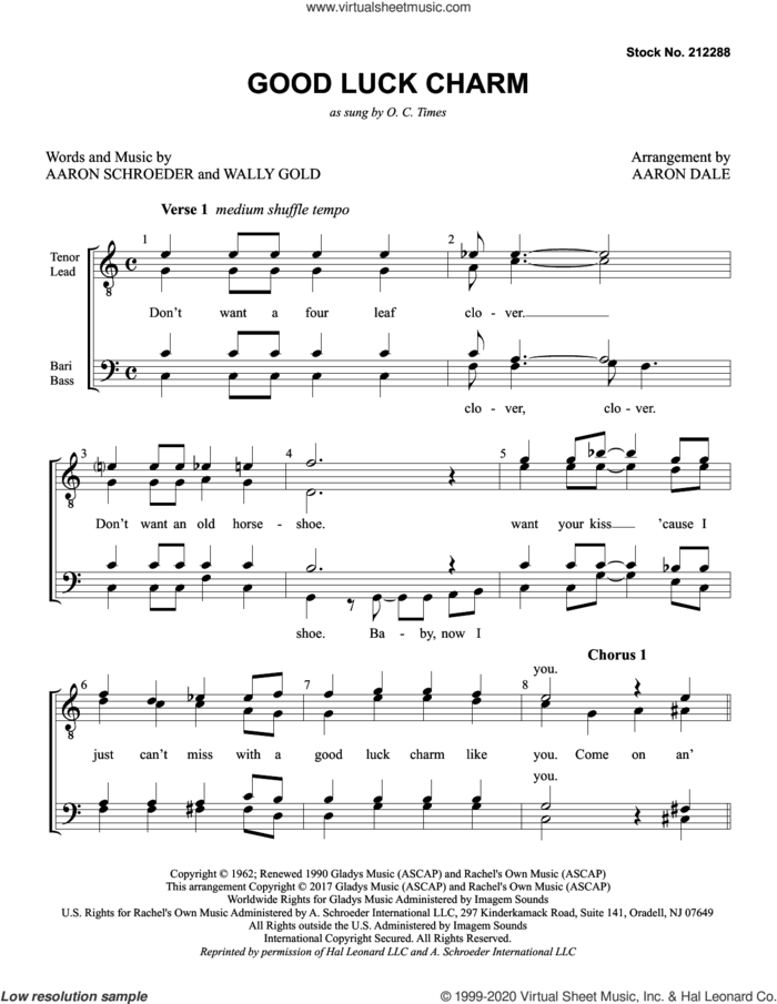 Good Luck Charm (arr. Aaron Dale) sheet music for choir (TTBB: tenor, bass) by Elvis Presley, Aaron Dale, Aaron Schroeder and Wally Gold, intermediate skill level