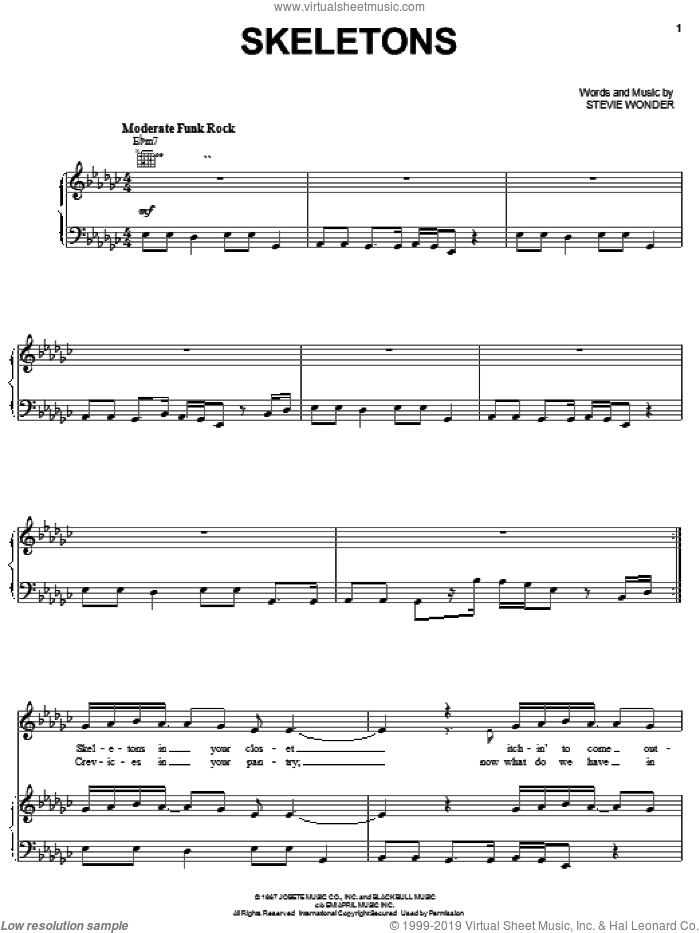 Skeletons sheet music for voice, piano or guitar by Stevie Wonder, intermediate skill level