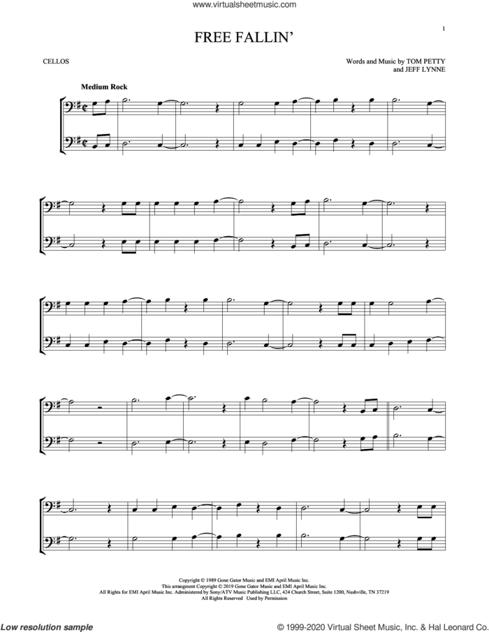 Free Fallin' sheet music for two cellos (duet, duets) by Tom Petty and Jeff Lynne, intermediate skill level