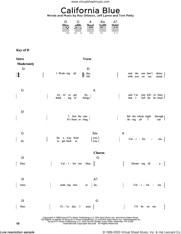 California Blue sheet music for guitar solo (chords and lyrics) by Roy Orbison, Jeff Lynne and Tom Petty, intermediate guitar (chords and lyrics)