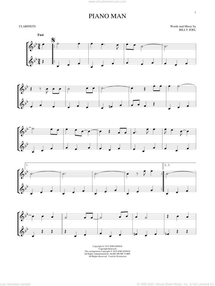 Piano Man sheet music for two clarinets (duets) by Billy Joel, intermediate skill level