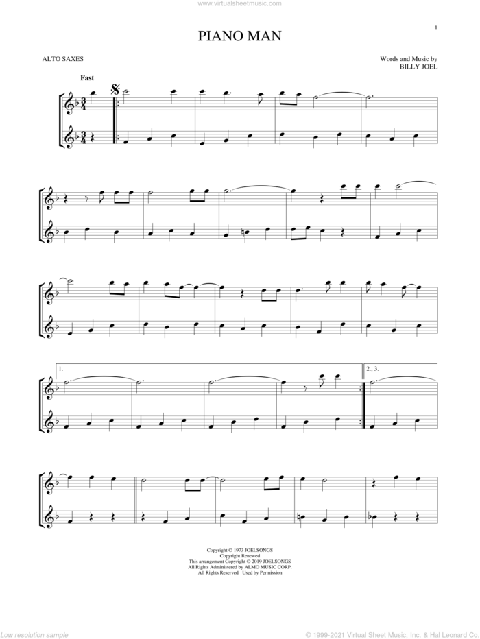 Piano Man sheet music for two alto saxophones (duets) by Billy Joel, intermediate skill level