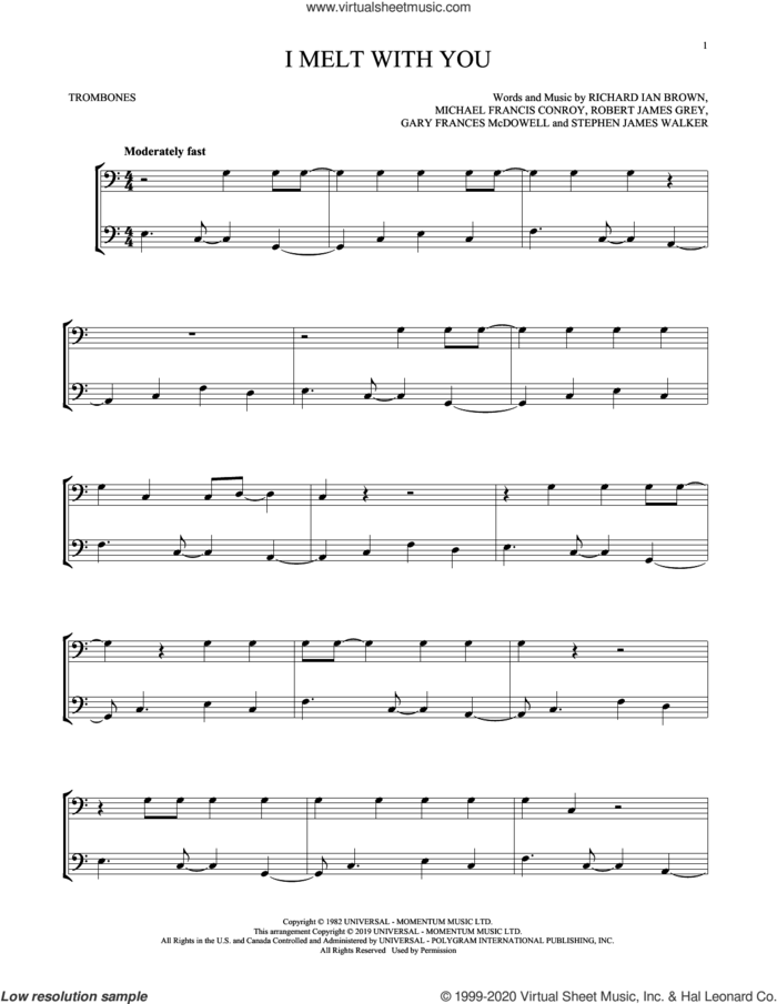 I Melt With You sheet music for two trombones (duet, duets) by Modern English, Gary Frances McDowell, Michael Francis Conroy, Richard Ian Brown, Robert James Grey and Stephen James Walker, intermediate skill level