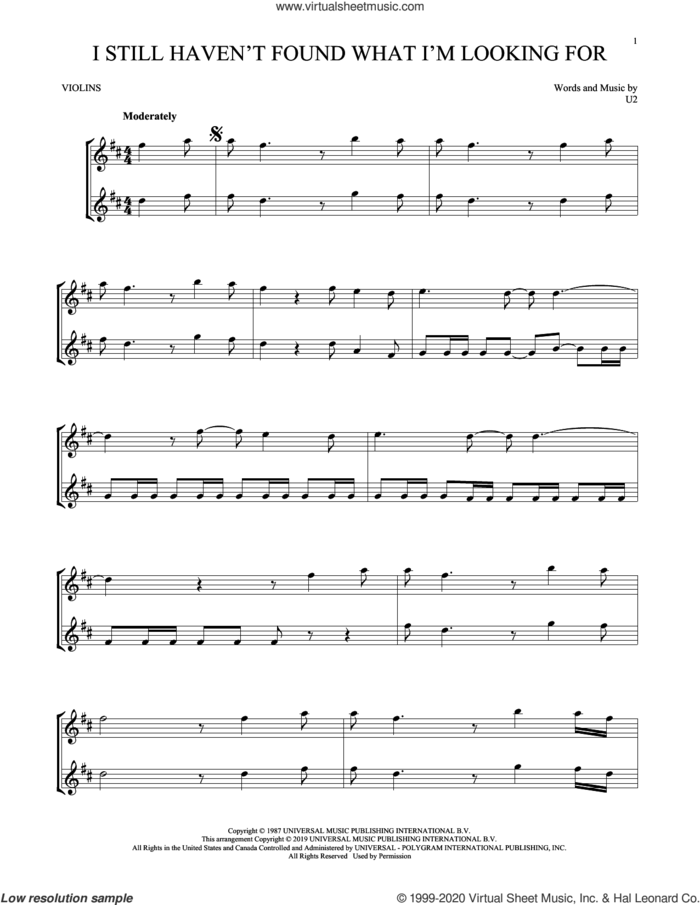 I Still Haven't Found What I'm Looking For sheet music for two violins (duets, violin duets) by U2, intermediate skill level