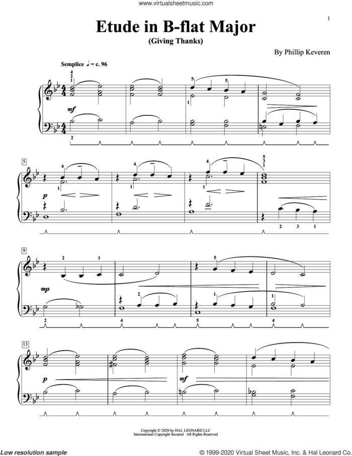 Etude In B-Flat Major (Giving Thanks) sheet music for piano solo by Phillip Keveren, classical score, intermediate skill level