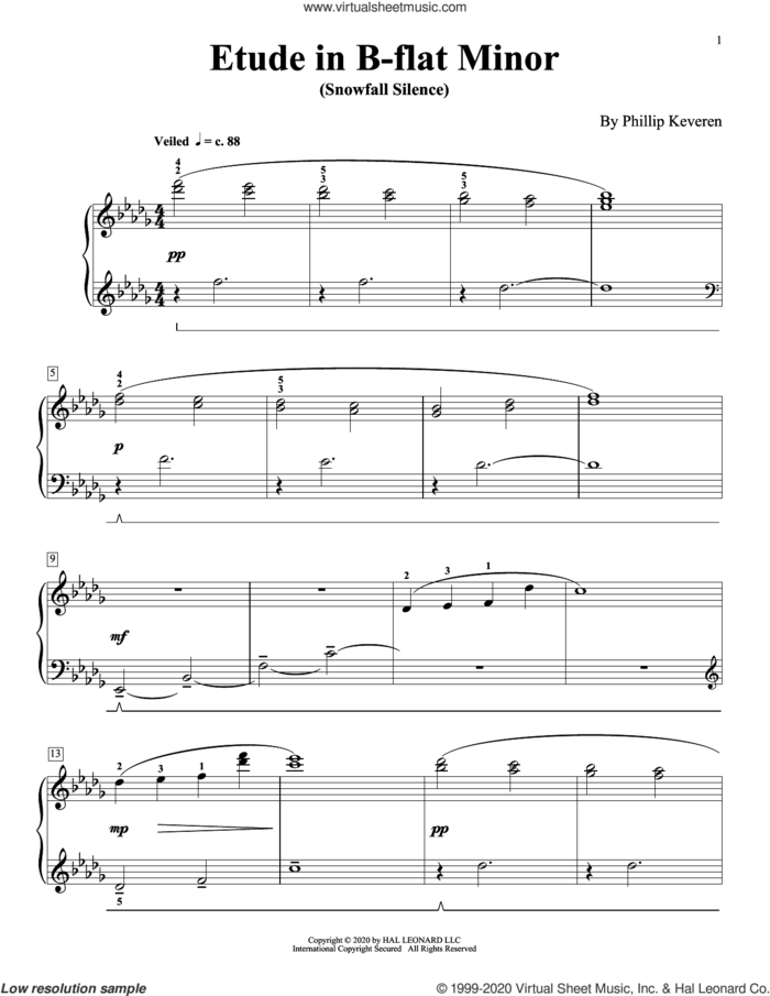 Etude In B-Flat Minor (Snowfall Silence) sheet music for piano solo by Phillip Keveren, classical score, intermediate skill level