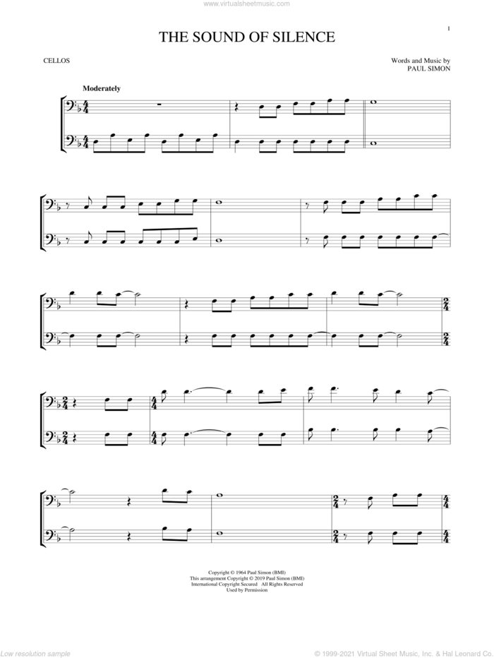 The Sound Of Silence sheet music for two cellos (duet, duets) by Simon & Garfunkel and Paul Simon, intermediate skill level