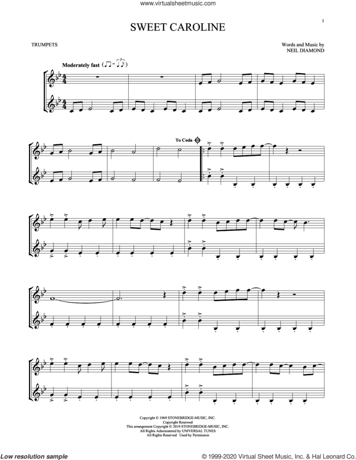 Sweet Caroline sheet music for two trumpets (duet, duets) by Neil Diamond, intermediate skill level