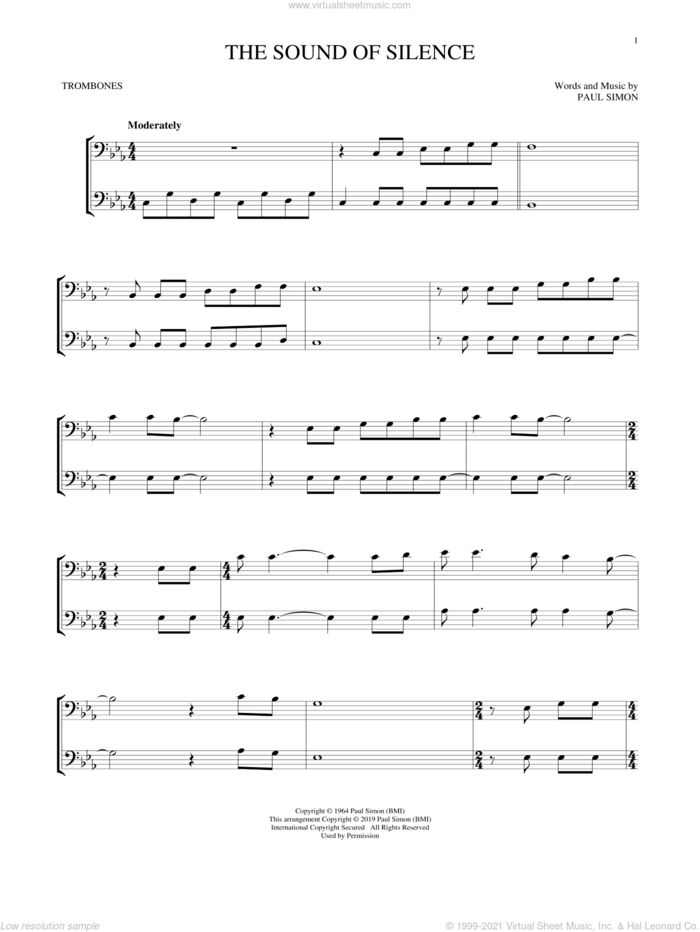 The Sound Of Silence sheet music for two trombones (duet, duets) by Simon & Garfunkel and Paul Simon, intermediate skill level