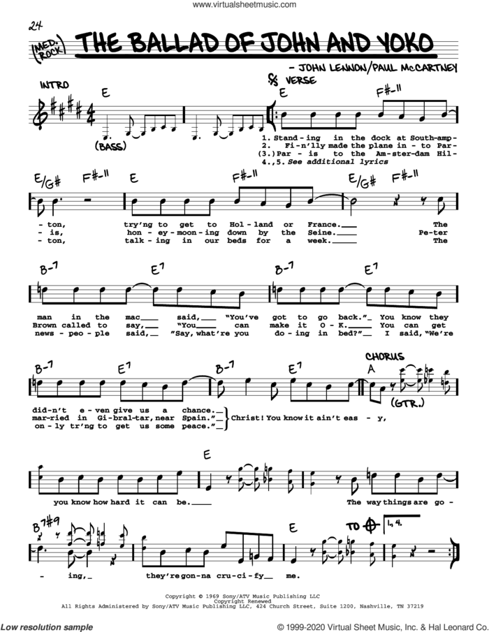 The Ballad Of John And Yoko [Jazz version] sheet music for voice and other instruments (real book with lyrics) by The Beatles, John Lennon and Paul McCartney, intermediate skill level