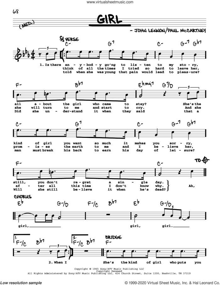 Girl [Jazz version] sheet music for voice and other instruments (real book with lyrics) by The Beatles, John Lennon and Paul McCartney, intermediate skill level