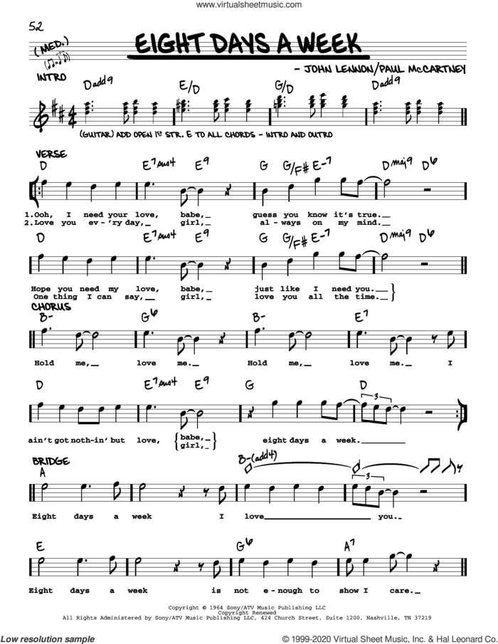 Eight Days A Week [Jazz version] sheet music for voice and other instruments (real book with lyrics) by The Beatles, John Lennon and Paul McCartney, intermediate skill level