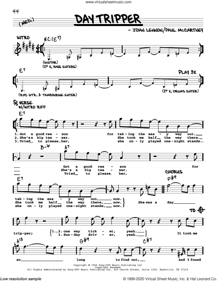Day Tripper [Jazz version] sheet music for voice and other instruments (real book with lyrics) by The Beatles, John Lennon and Paul McCartney, intermediate skill level
