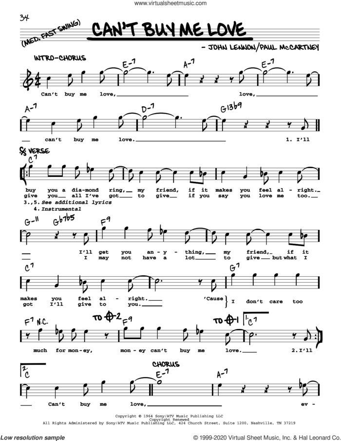 Can't Buy Me Love [Jazz version] sheet music for voice and other instruments (real book with lyrics) by The Beatles, John Lennon and Paul McCartney, intermediate skill level
