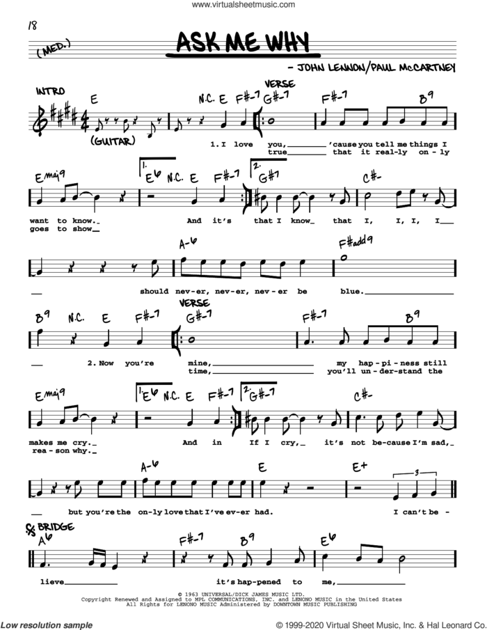 Ask Me Why [Jazz version] sheet music for voice and other instruments (real book with lyrics) by The Beatles, John Lennon and Paul McCartney, intermediate skill level