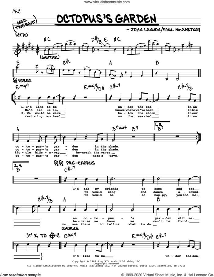 Octopus's Garden [Jazz version] sheet music for voice and other instruments (real book with lyrics) by The Beatles and Richard Starkey, intermediate skill level