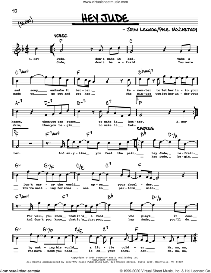 Hey Jude [Jazz version] sheet music for voice and other instruments (real book with lyrics) by The Beatles, John Lennon and Paul McCartney, intermediate skill level
