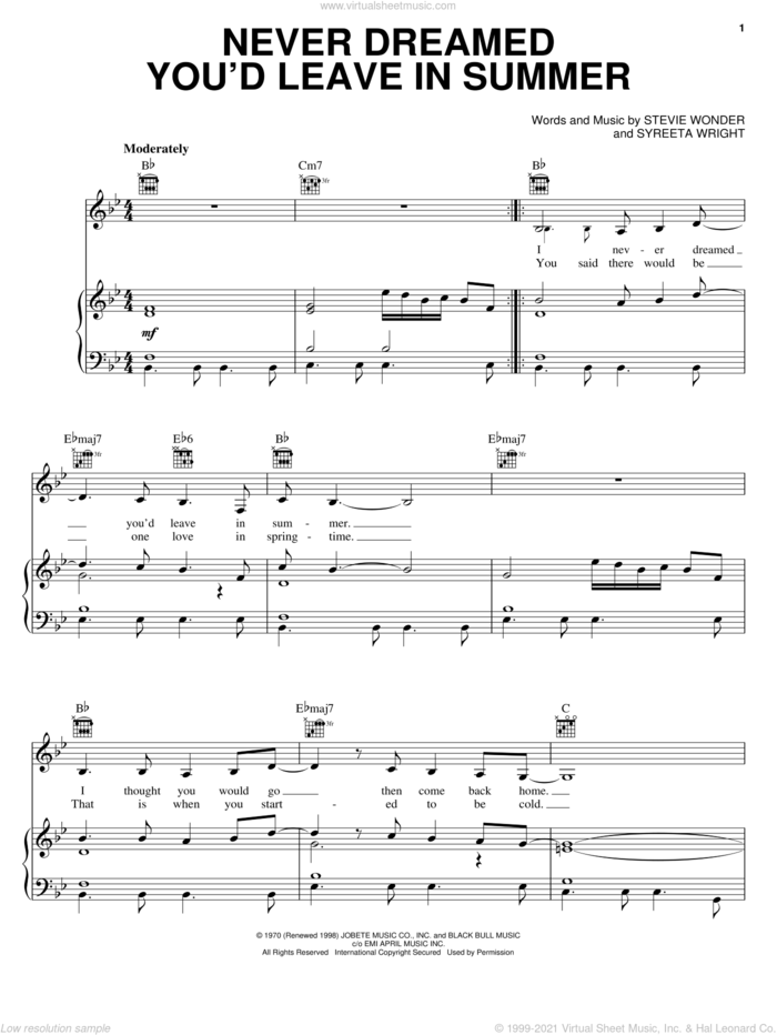 Never Dreamed You'd Leave In Summer sheet music for voice, piano or guitar by Stevie Wonder and Syreeta Wright, intermediate skill level
