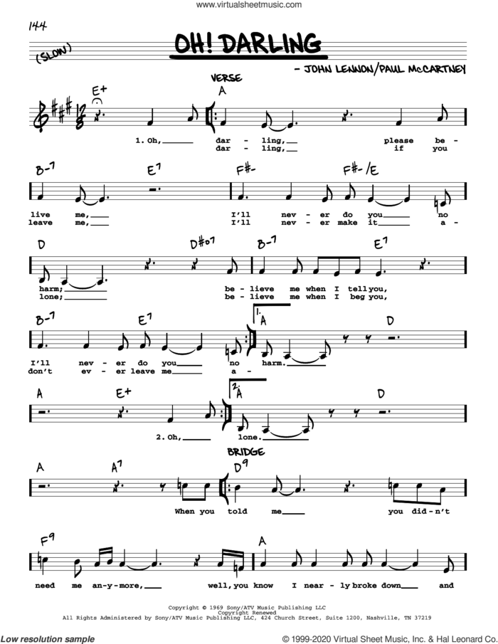 Oh! Darling [Jazz version] sheet music for voice and other instruments (real book with lyrics) by The Beatles, John Lennon and Paul McCartney, intermediate skill level