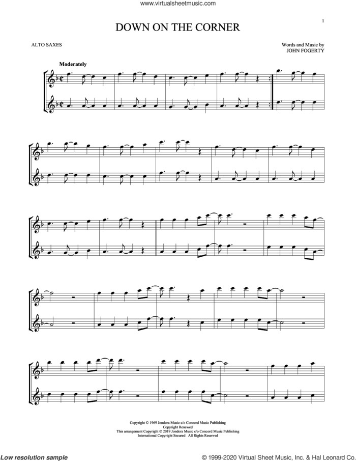 Down On The Corner sheet music for two alto saxophones (duets) by Creedence Clearwater Revival and John Fogerty, intermediate skill level