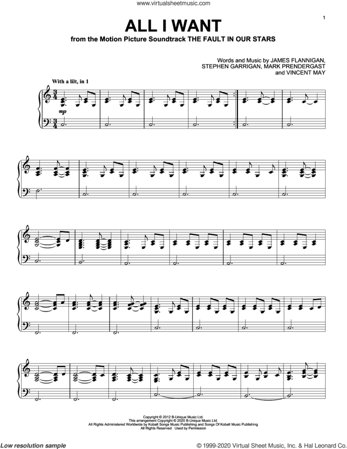 All I Want sheet music for piano solo by Kodaline, James Flannigan, Mark Prendergast, Stephen Garrigan and Vincent May, intermediate skill level