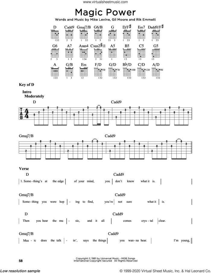 Magic Power sheet music for guitar solo (lead sheet) by Triumph, Gil Moore, Mike Levine and Rik Emmett, intermediate guitar (lead sheet)