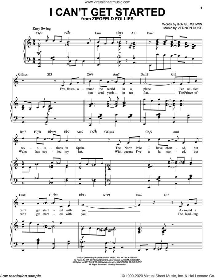 I Can't Get Started [Jazz version] (arr. Brent Edstrom) sheet music for voice and piano (High Voice) by Ira Gershwin, Brent Edstrom, Ira Gershwin and Vernon Duke and Vernon Duke, intermediate skill level