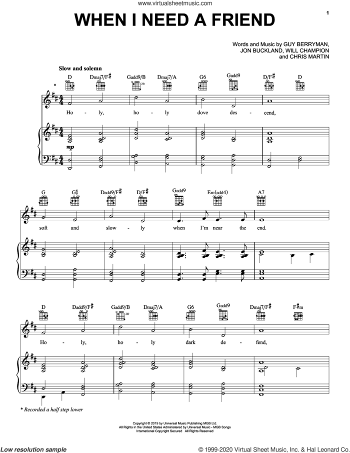 When I Need A Friend sheet music for voice, piano or guitar by Coldplay, Chris Martin, Guy Berryman, Jon Buckland and Will Champion, intermediate skill level
