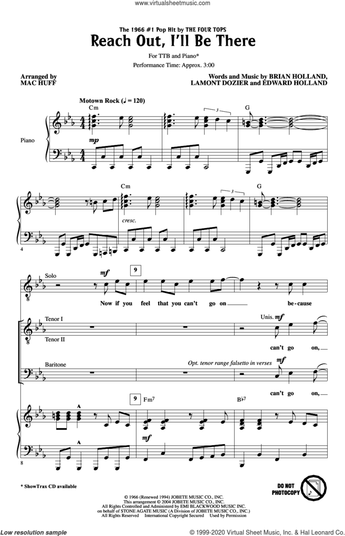 Reach Out I'll Be There (arr. Mac Huff) sheet music for choir (TTBB: tenor, bass) by The Four Tops, Mac Huff, Brian Holland, Edward Holland Jr. and Lamont Dozier, intermediate skill level