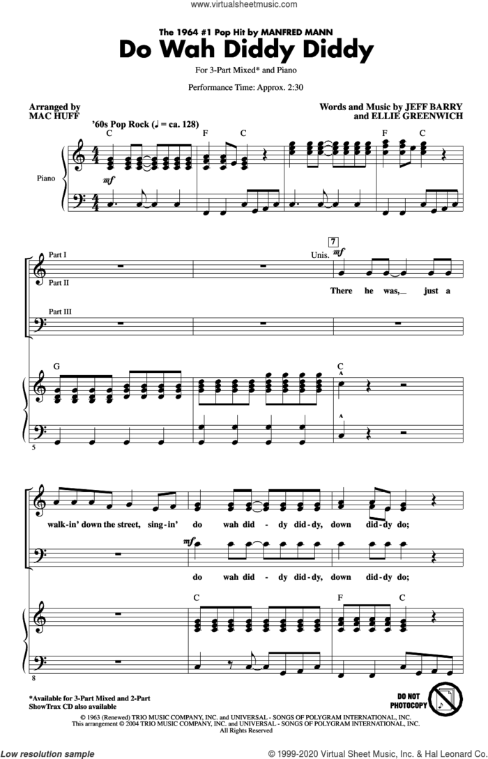 Do Wah Diddy Diddy (arr. Mac Huff) sheet music for choir (3-Part Mixed) by Manfred Mann, Mac Huff, Ellie Greenwich and Jeff Barry, intermediate skill level