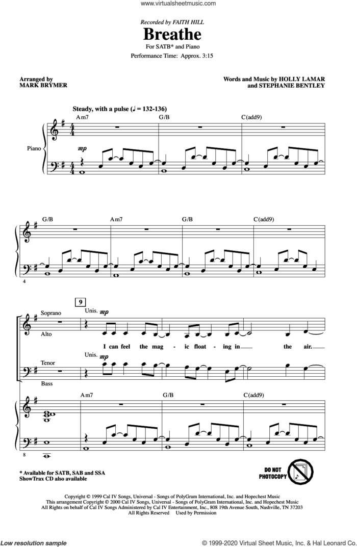 Breathe (arr. Mark Brymer) sheet music for choir (SATB: soprano, alto, tenor, bass) by Faith Hill, Mark Brymer, Holly Lamar and Stephanie Bentley, intermediate skill level