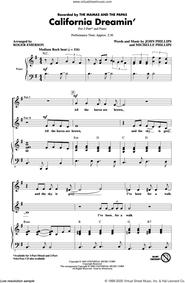 California Dreamin' (arr. Roger Emerson) sheet music for choir (2-Part) by The Mamas & The Papas, Roger Emerson, John Phillips and Michelle Phillips, intermediate duet