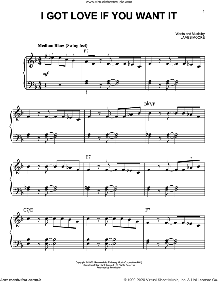 I Got Love If You Want It sheet music for piano solo by Slim Harpo and James Moore, beginner skill level