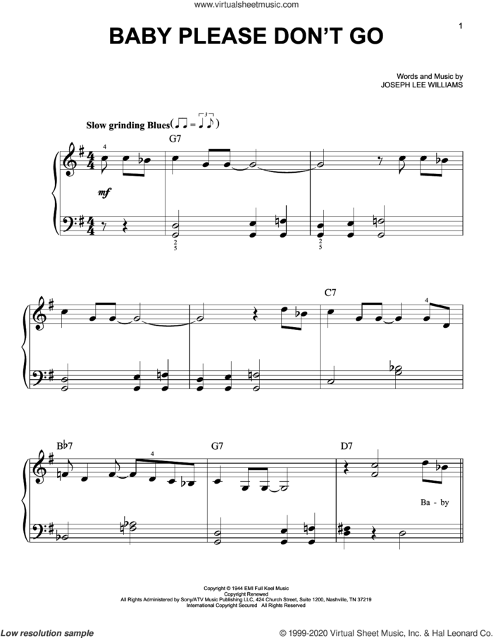 Baby Please Don't Go sheet music for piano solo by Them & Van Morrison and Joseph Lee Williams, beginner skill level