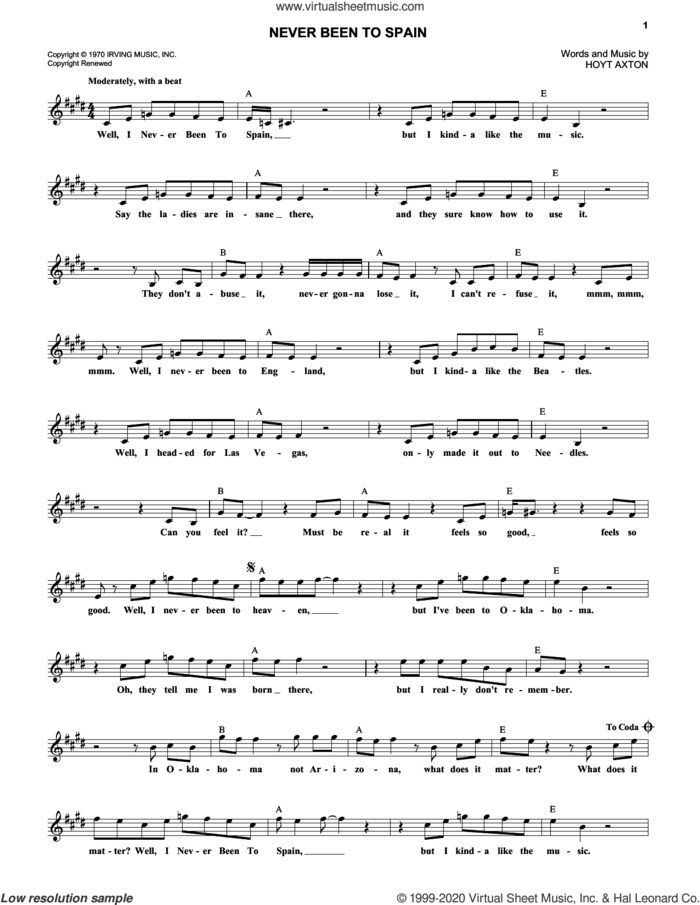 Never Been To Spain sheet music for voice and other instruments (fake book) by Three Dog Night and Hoyt Axton, intermediate skill level